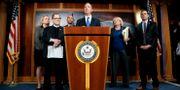 """Representanthusets sju """"impeachment managers"""", som fungerar som åklagare mot president Trump i senaten. Julio Cortez / TT NYHETSBYRÅN"""
