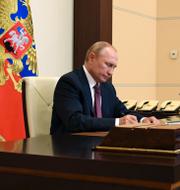 Rysslands president Vladimir Putin och Sveriges utrikesminister Ann Linde. TT