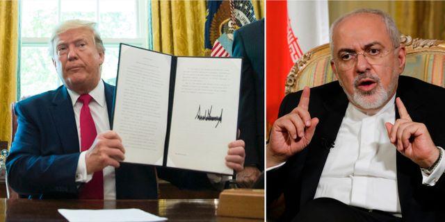 Donald Trump efter att ha skrivit under ordern om nya sanktioner mot Iran / Irans utrikesminister Mohammad Javad Zarif. TT