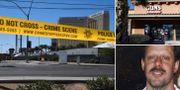Avspärrningar framför casinot där Stephen Paddock genomförde dådet. Till höger: Ägaren av affären Guns & Guitars i Mesquite säger i ett uttalande att Paddock inte visade några tecken på att vara olämplig att köpa vapen (ovan). Stephen Paddock (arkivbild, nedan). TT