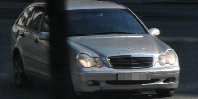 Den silvergrå Mercedes som användes vid mordet på Ribersborg i Malmö.  Polisen