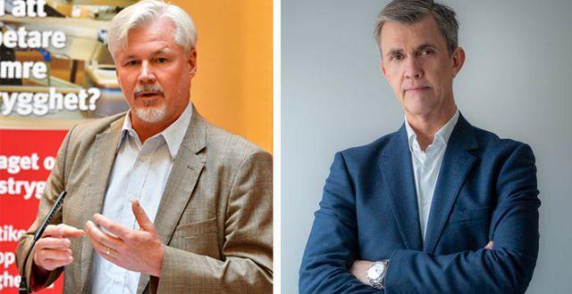 LO:s avtalssekreterare Torbjörn Johansson och Kompetensföretagens förbundsdirektör Patrik Eidfelt.   TT/pressbild