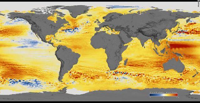 Illustration av havsnivåhöjningar över tid gjord av Nasa. Nasa