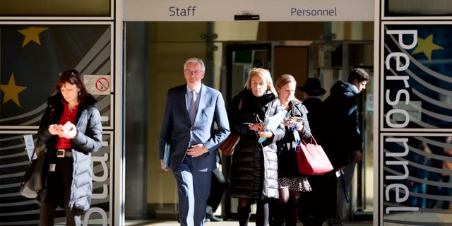EU:s chefsförhandlare Michel Barner vid EU:s högkvarter i Bryssel.  Virginia Mayo / TT NYHETSBYRÅN