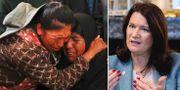 Bolivianer under en begravning för en person som dödades under protesterna i landet/Ann Linde. TT