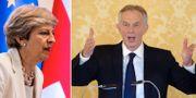 Arkivbilder: Storbritanniens premiärminister Theresa May, föregångaren Tony Blair.  TT