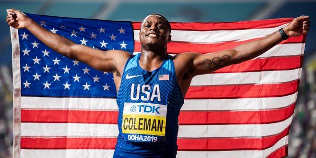 Christian Coleman firar sitt VM-guld. JOEL MARKLUND / BILDBYRÅN