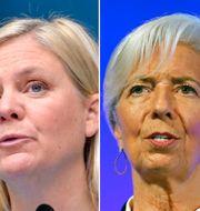 Från vänster: FT:s Martin Wolf, Sveriges finansminister Magdalena Andersson (S) och ECB-chefen Christine Lagarde. Jessica Gow/TT, Stefan Gustavsson/SvD/TT och Tolga Akmen/APT/TT