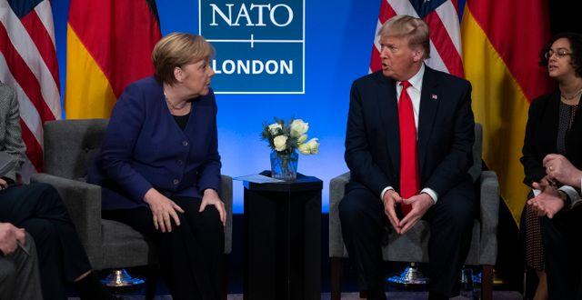 Angela Merkel och Donald Trump. Evan Vucci / TT NYHETSBYRÅN