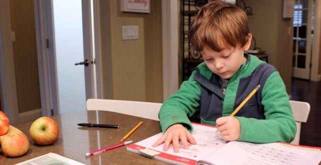 Ett barn i USA studerar hemma under pandemin. Sara Cline / TT NYHETSBYRÅN