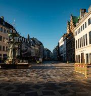 Ödsligt i centrala Köpenhamn. Emil Helms / TT NYHETSBYRÅN