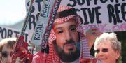 Demonstranter utanför Vita huset, en demonstrant utklädd till den saudiske kronprinsen. LEAH MILLIS / TT NYHETSBYRÅN