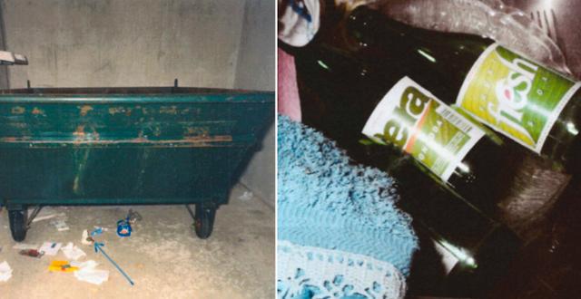 Sopcontainer/läskflaskor med fingeravtryck på. Polisens förundersökning