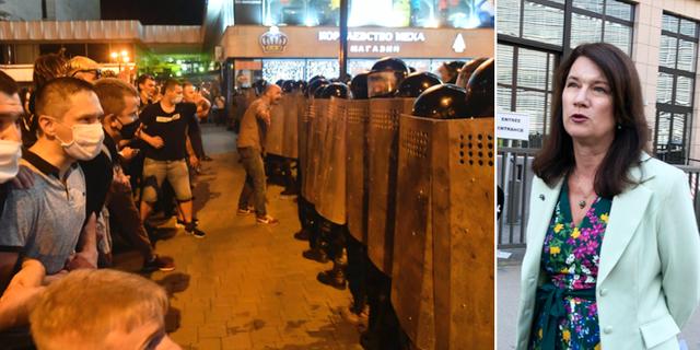 Protester i Minsk och Ann Linde.  TT