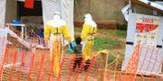 Sjukvårdare går med en pojke som tros ha smittats av ebola i Kongo-Kinshasa. Arkivbild. Al-hadji Kudra Maliro / TT NYHETSBYRÅN