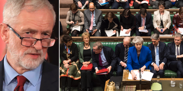 Jeremy Corbyn. Theresa May i parlamentet. TT