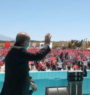 Erdogan vid ett firande av slaget vid Manzikert.  TT NYHETSBYRÅN