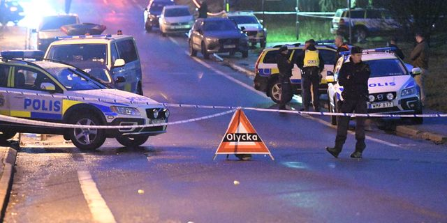 Polisen har spärrat av på platsen Johan Nilsson/TT / TT NYHETSBYRÅN