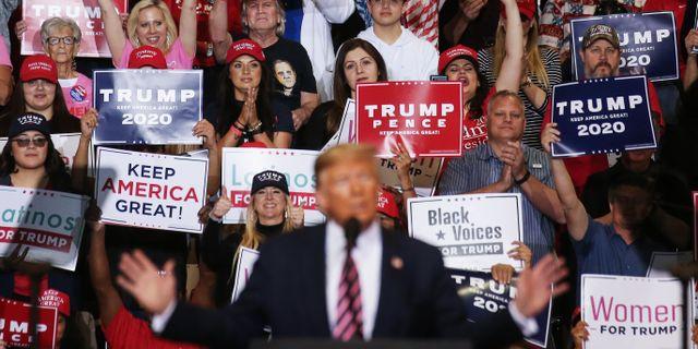 Donald Trump. under ett väljarmöte. MARIO TAMA / TT NYHETSBYRÅN