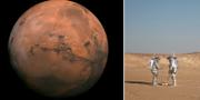 Två forskare genomför tester i en öken i Oman i februari inför framtida resor till mars. TT