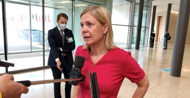 Arkivbild: Finansminister Magdalena Andersson (S) vid ett EU-möte i Luxemburg Wiktor Nummelin / TT / TT NYHETSBYRÅN