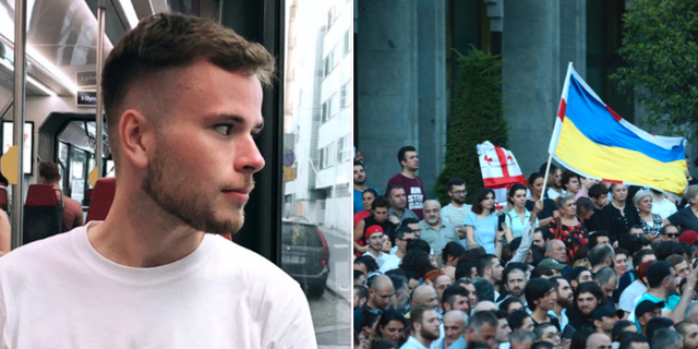 T.v  William Ejeborg. T.h protester i Tbilisi.