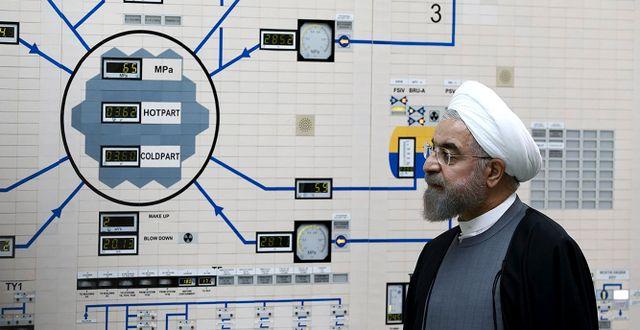 Irans president Rouhani vid en av landets kärnanläggningar. Mohammad Berno / TT NYHETSBYRÅN