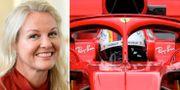 Nina Kennedy/Ferraribil utrustad med den nya störtbågen. TT