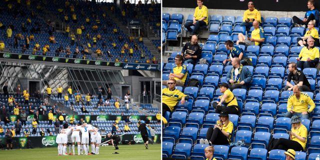 Social distansering under match mellan Brøndby IF och FC Köpenhamn. Bildbyrån.
