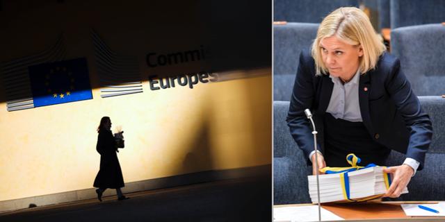 En kvinna går utanför EU-kommissionen/Magdalena Andersson (S) TT