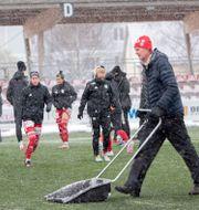 Fotbollsplanen skottades inför matchen Jens Ökvist/TT / TT NYHETSBYRÅN