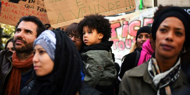 Franska demonstrationer mot slavhandeln. ANNE-CHRISTINE POUJOULAT / AFP