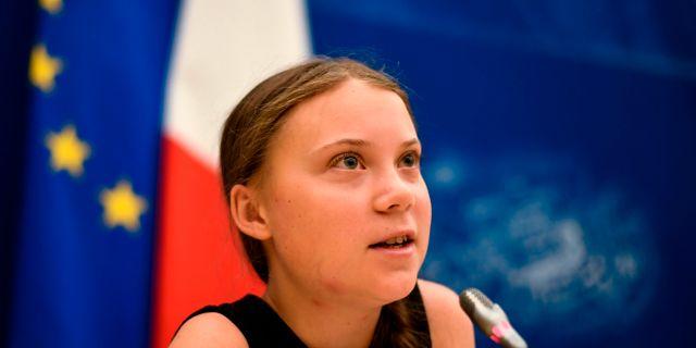 Greta Thunberg i nationalförsamlingen i Paris. LIONEL BONAVENTURE / AFP