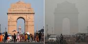 """Kombination av bilder. Turister besöker India Gate i New Delhi, den nuvarande situationen beskrivs som """"en gaskammare"""". TT"""