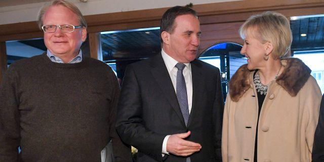 Försvarsminister Peter Hultqvist (S), statsminister Stefan Löfven (S), utrikesminister Margot Wallström (S). Henrik Montgomery/TT / TT NYHETSBYRÅN