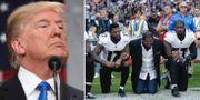 Donald Trump/NFL-spelare under höstens protester. Arkivbilder. TT