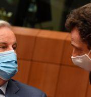 EU:s chefsförhandlare Michel Barnier, till vänster, och  Frankrikes EU-representant Philippe Leglise-Costa.  John Thys / TT NYHETSBYRÅN