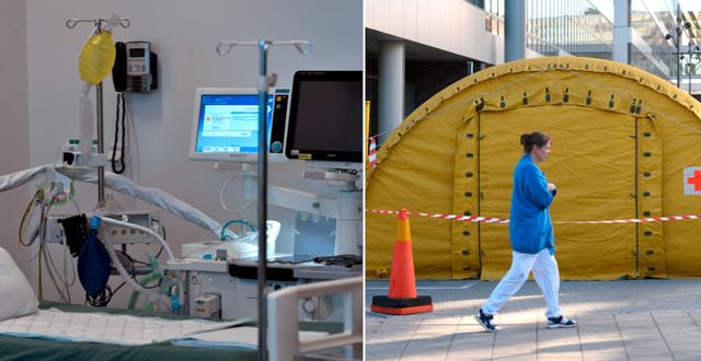 Tillfälliga intensivvårdsplatser på Karolinska sjukhuset i Huddinge. TT