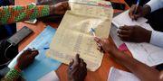 Valarbetare i Kongo-Kinshasa räknar röster.  Jerome Delay / TT NYHETSBYRÅN/ NTB Scanpix