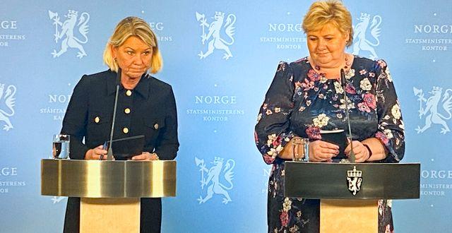 Justisminister Monica Mæland och statsminister erna Solberg. Ole Berg-Rusten / TT NYHETSBYRÅN