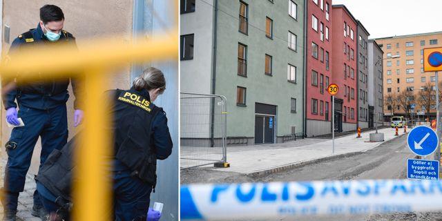 Bilder från Sätra efter morden. TT