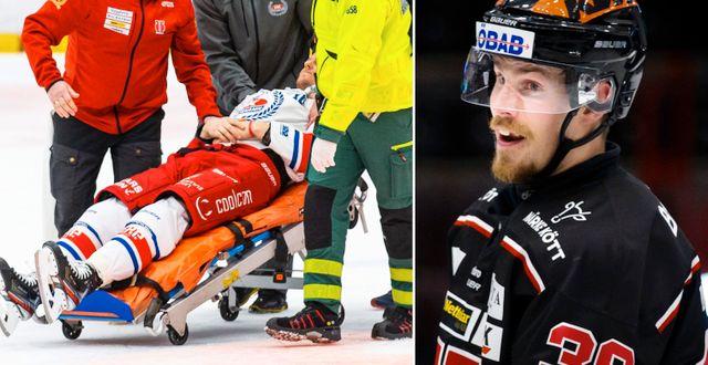 Oscar Sundh rullas ut på bår/Emil Larsson. Bildbyrån