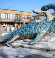 Statyn Scanisaurus på Ifö-torget i Bromölla. Johan Nilsson/TT / TT NYHETSBYRÅN