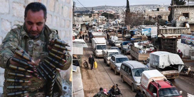 Till vänster: Rebeller som backas av Turkiet. Till höger: Civila flyr Idlib. TT