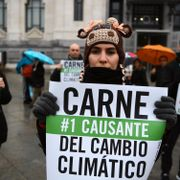 Demonstranter samlas i samband med klimattoppmötet i Madrid.  GABRIEL BOUYS / AFP