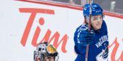 Jake Virtanen firar efter målet mot Chicago. DARRYL DYCK / TT NYHETSBYRÅN/ NTB Scanpix