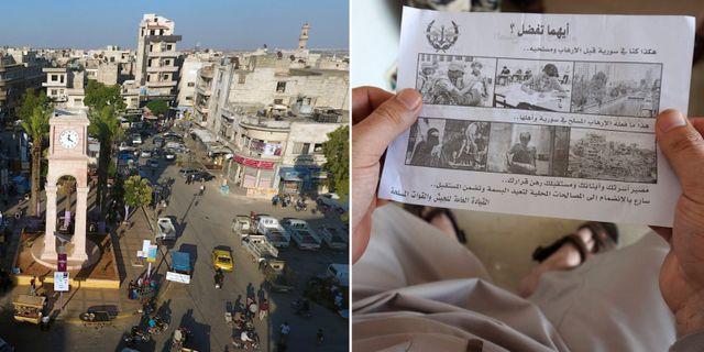 Översiktsbild över Idlib/En man tittar på ett flygblad.  TT