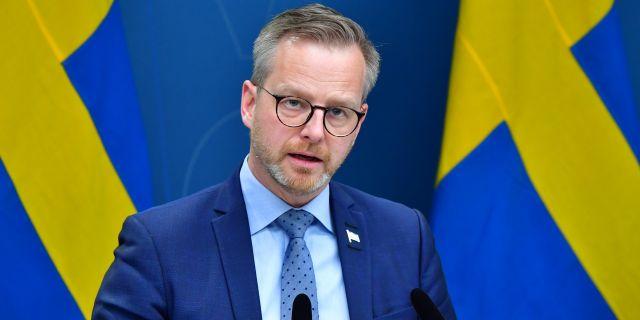 Mikael Damberg under dagens pressträff. Jonas Ekströmer/TT / TT NYHETSBYRÅN