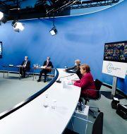 Tysklands förbundskansler Angels Merkel under klimatmötets första dag. Kay Nietfeld / TT NYHETSBYRÅN