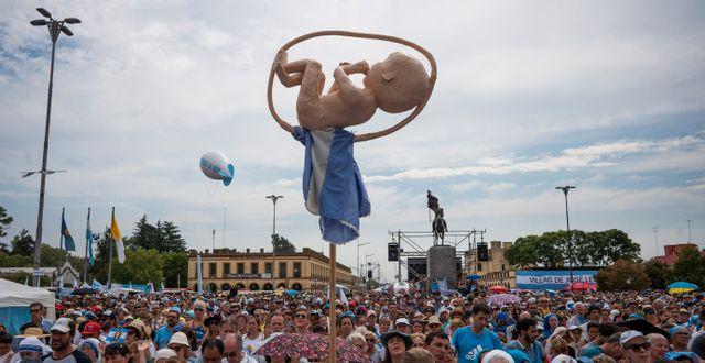 Bild från en tidigare argentinsk demonstration mot aborter Victor Caivano / TT NYHETSBYRÅN